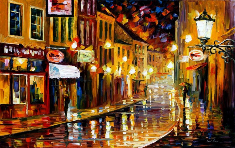 Modern Wall Art Landscape painting lights of the old town Colorful oil paintings Canvas Home Decor High quality Hand paintedModern Wall Art Landscape painting lights of the old town Colorful oil paintings Canvas Home Decor High quality Hand painted