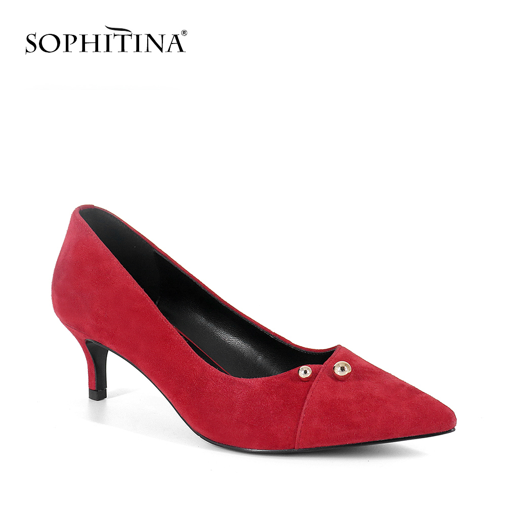SOPHITINA 2019 Spring Womens Pumps Super High Thin Heels Kid Suede Pointed Toe Slip-On Shoes Fashion Metal Decoration Pumps A82SOPHITINA 2019 Spring Womens Pumps Super High Thin Heels Kid Suede Pointed Toe Slip-On Shoes Fashion Metal Decoration Pumps A82