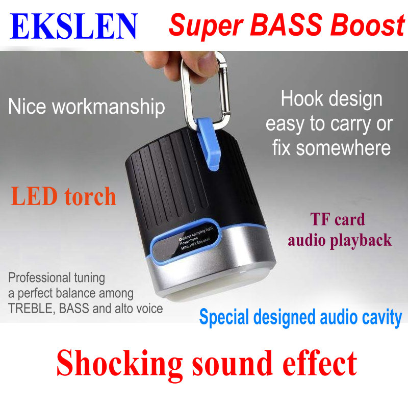 US $15 75 25% OFF|EKSLEN P1 Bluetooth Speaker with Radio FM TF card Micro  SD LED light torch Waterproof Promotional Outdoor Wireless MP3 for Phone-in