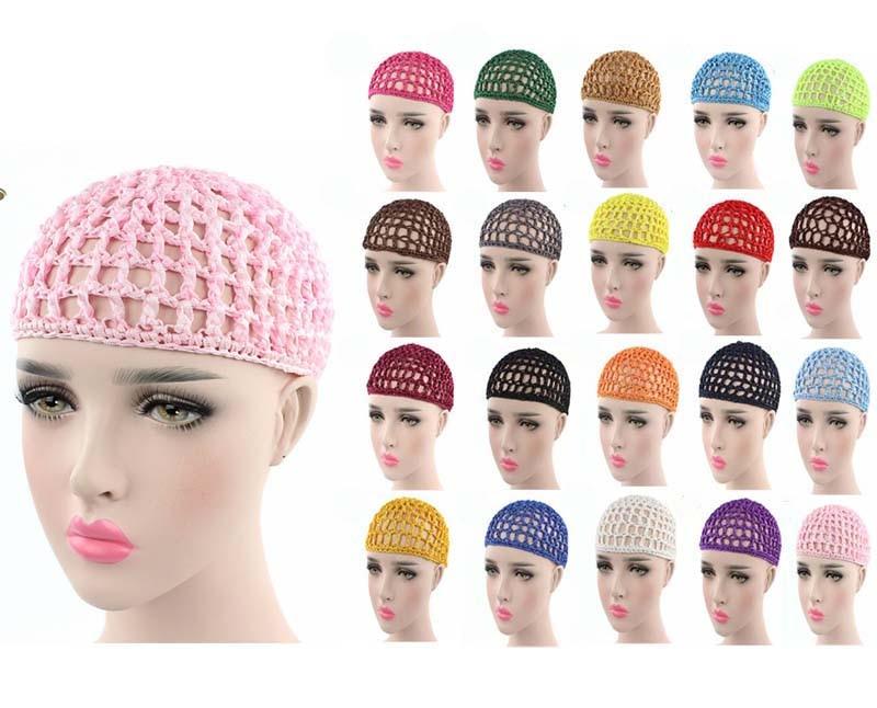 1x Ladies Soft Rayon Snood Hair Net Crochet Hairnet Cap Brown