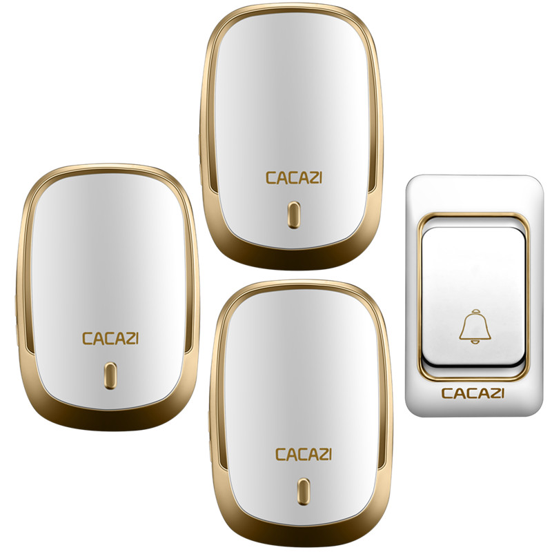 CACAZI Wireless Doorbell Waterproof DC Button Battery Operated Long Range 200M Remote Rings 6 Volume Door 36 Chime Calling Bell cacazi white black long range wireless doorbell dc battery operated 300 m remote control doorbell rings 6 volume door chime 48