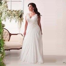 Hot Sale Chiffon Plus Size Wedding Dresses Cap Sleeve Beaded Open Back Cheap Bride Gown Vestidos