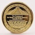 1 x Aztec Mayan Calendar Souvenir Gold Silver Plated Commemorative Coin Collection Gift