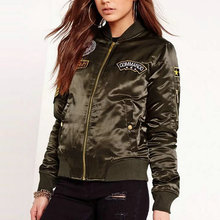 Ladies Flight Bomber Jacket in Army Green Embroidered Patch