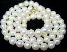 FREE SHIPPING HOT sell new Style >>>>> LONG 33″ 7-7.5mm White Akoya Cultured Pearl Jewelry Necklace +14K GP Clasp