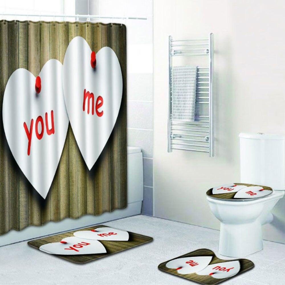 Шторы коврик для ванной комнаты красивый полиэстер 4 шт./компл. любовь Свадебная дорожка зимняя крышка для унитаза противоскользящая Прямая - Цвет: 5