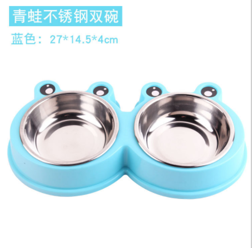 Pet Feeder For Dogs Or Cats Stainless Steel Dog Bowls With Rubber Base Pet Food And Water Bowls image