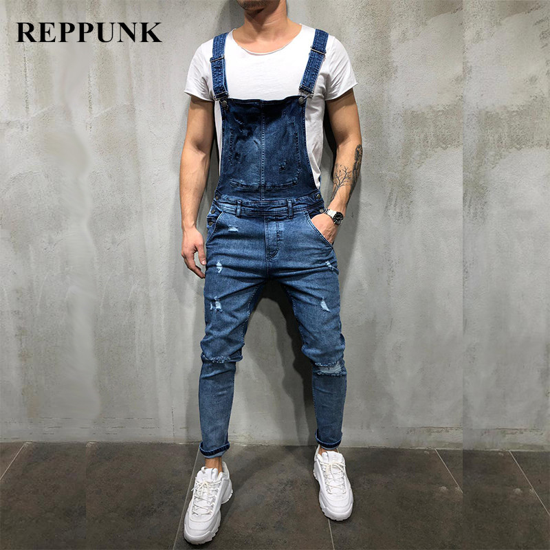 REPPUNK 2019 New Fashion Mens Ripped Jeans Street Distressed Hole Denim Overalls For Male Jumpsuit Pants Size M-XXXL