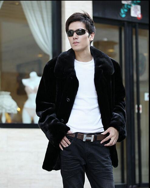 블랙 캐주얼 따뜻한 가짜 모조 밍크 모피 코트 망 가죽 재킷 남자 코트 villus 겨울 느슨한 열 영국 잉글랜드 블랙