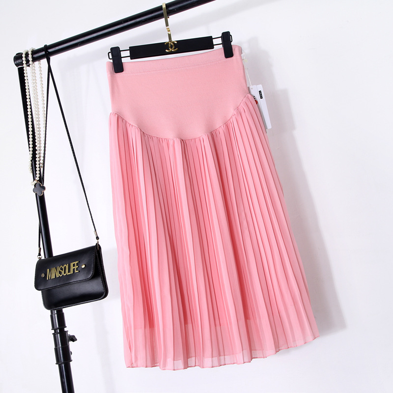 d040b083250af ... Women039s Skirt Skirts A BONJEAN China And A. Tanie BONJEAN New Spring  Maternity Skirts Fashion Chiffon Care Belly A Line Pleated Skirt High Waist  Black ...