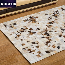 Bedroom high-end European and American hand-stitching Cow leather carpet living room coffee table mats carpet