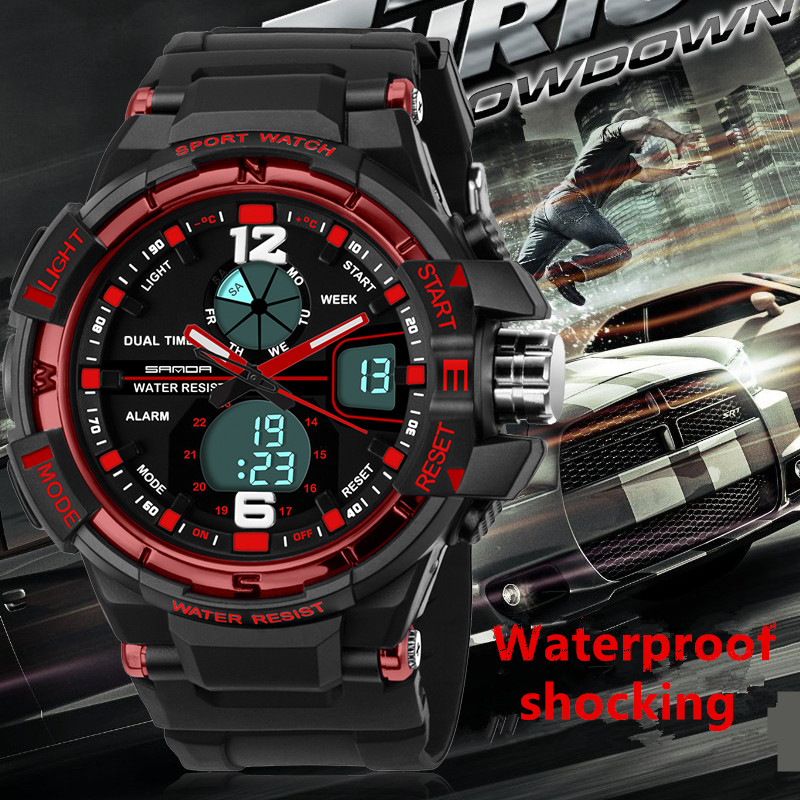 Luxury SANDA brand men women 50M waterproof dual time sports digital wristwatches lady running hiking led stop watches