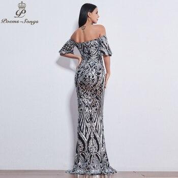 Poems Songs New Style elegant luxury Evening dresses long vestido de festa longo prom dress robe de soiree evening gowns 4