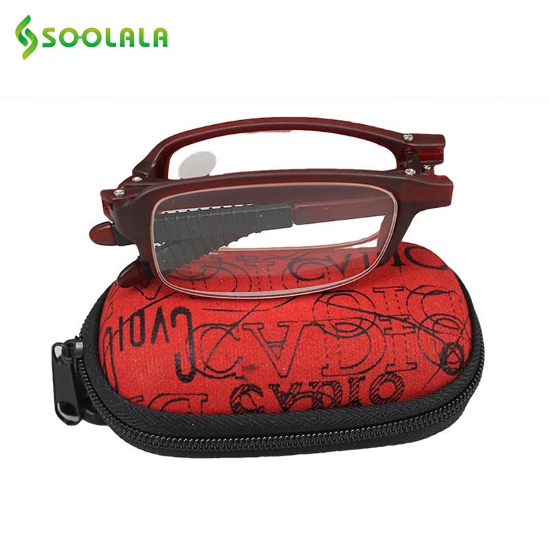 SOOLALA Womens Mens Mini TR90 Kacamata Baca Lipat dengan Klip Pemegang Ritsleting Kasus 7 Kekuatan Pembaca Hadiah Murah untuk Orang Tua
