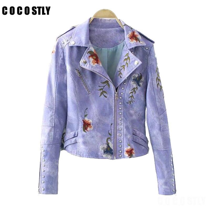 High Quality Women PU   Leather   Floral Embroidery Jacket Coats Streetwear Rivet Zipper Jackets Femme 2018 Winter