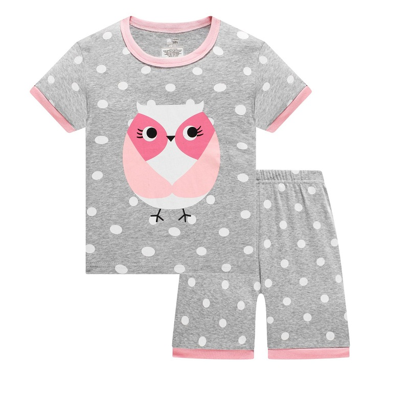 Fashion Girls Clothes Kids Pajamas Sets Cat Ladybug Children T-Shirt + Pant Baby G Sleepwear PJ'S Home Clothes Cotton