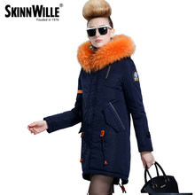 skinnwille 2017 new products down jacket in winter More female in long White duck down even the chinstrap collars(China)