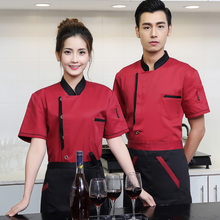 Chef Wear Short Sleeved Summer Catering Hotel Service Chain Bakery Restaurant Kitchen Working Uniforms For Men And Women J015