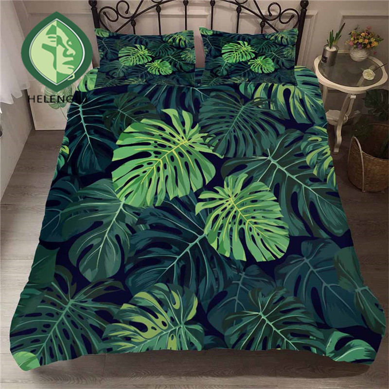 HELENGILI 3D Bedding Set Tropical Plants Print Duvet Cover Set Bedclothes with Pillowcase Bed Set Home Textiles #RDZW-20