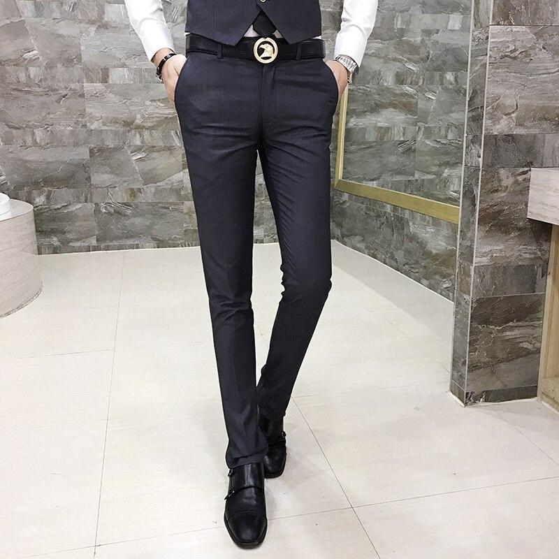 2019 Degli Uomini Di Casual Pantaloni, Pantaloni Dell'abito Di Cotone Di Colore Solido Di Modo Selvaggio Di Colore Solido Degli Uomini Sottili Di Semplice Per Il Tempo Libero Pantaloni