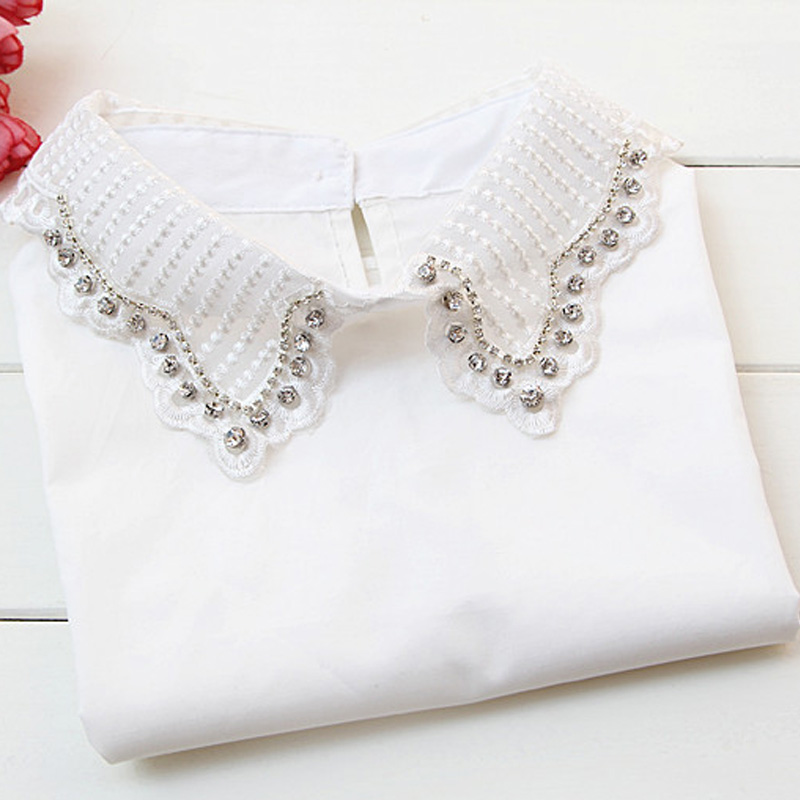 Ladies' Women's Style Autumn Winter New Yarn Shirt Fake Collar Retro Pearl Bead Holiday Female Spring Hollow Collar White