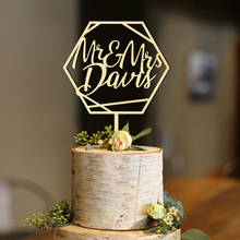 Personalized Hexagon Names Wedding Cake Topper , Name Topper, Wooden Unique Custom