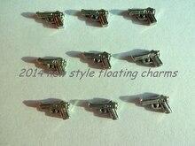 Новая Мода Серебряный Пистолет Форма Плавающие Подвески Для Стекла Памяти Медальоны
