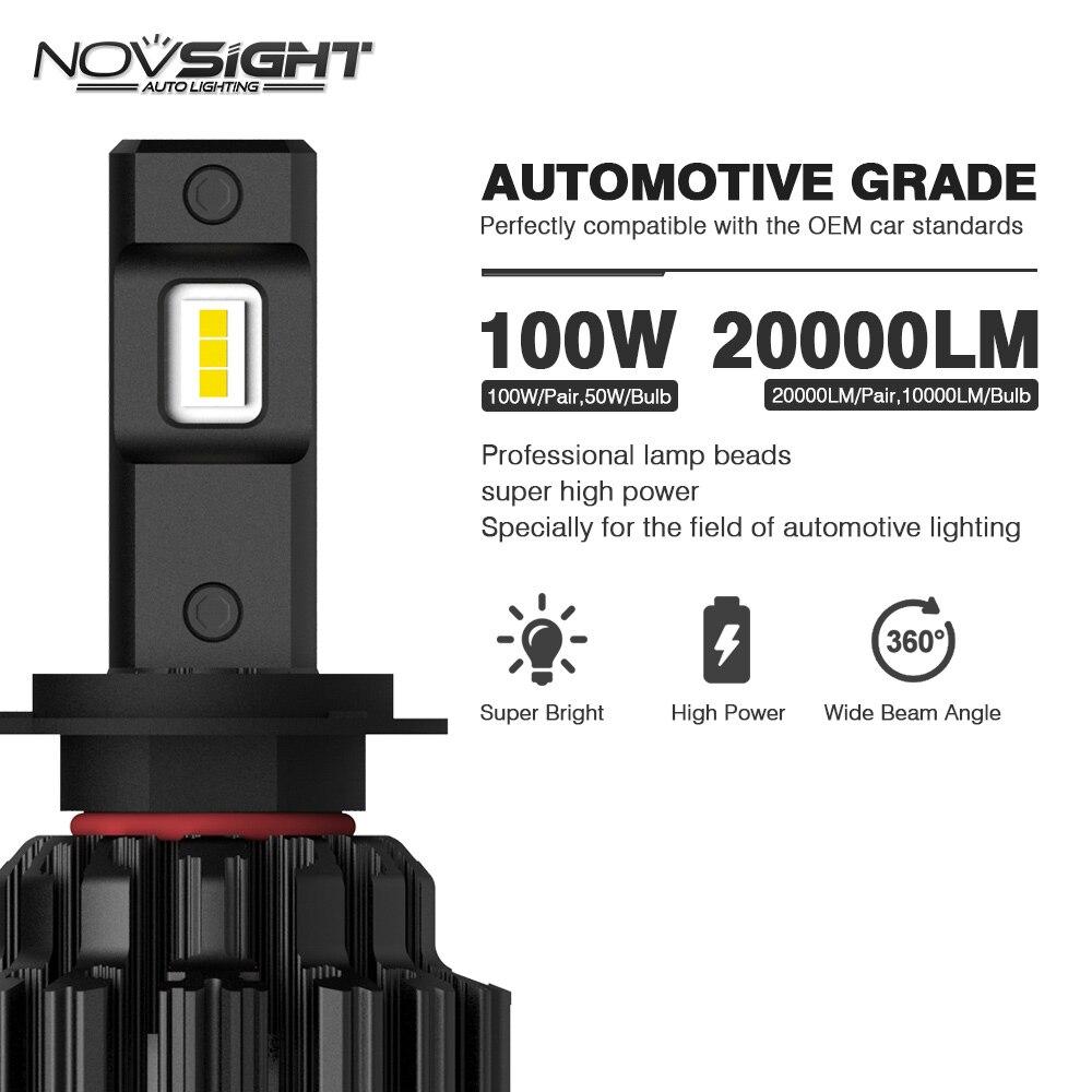NOVSIGHT H7 светодиодный H4 H11 9006 9005 яркие автомобильные лампы, лампы 100W 20000LM декодер светодиодная фара головного света автомобиля передние фары 6000K 12V 24V - 5