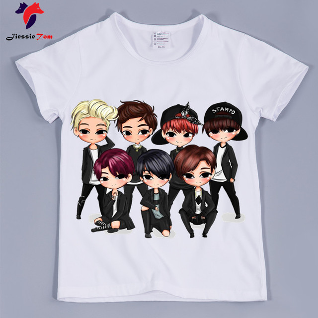 1e55c53d 2018 Kids Summer Cartoon BTS Bangtan Boys Design Funny T-Shirt Boys Girls  Baby Clothes Children JUNG/KOOK/JIMIN/SUGA Tops Tee