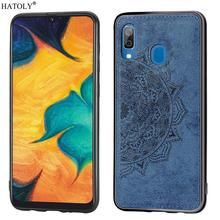 For Samsung Galaxy A30 Case Silicone Rubber Shell Cloth Texture Phone Cover for