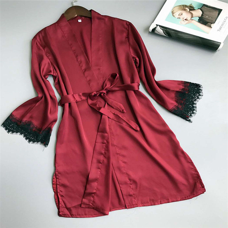 New 2018 Womens Sexy Silk Satin Robe Ladies Sleepwear Nightwear Vintage Lace Side Robes Night Gown Side Slip Solid 4 Colors