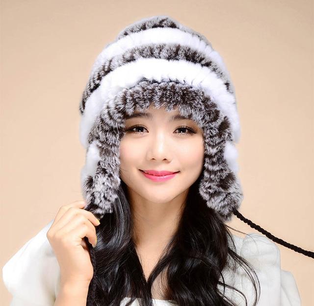 Knitted Rex Rabbit Fur Hats Lady Headgear Beanies Female Genuine winter hats for women Fur Caps