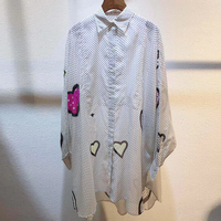 Dressnow long blouse women elegant blouse women long sleeve 2018 dot print blouse