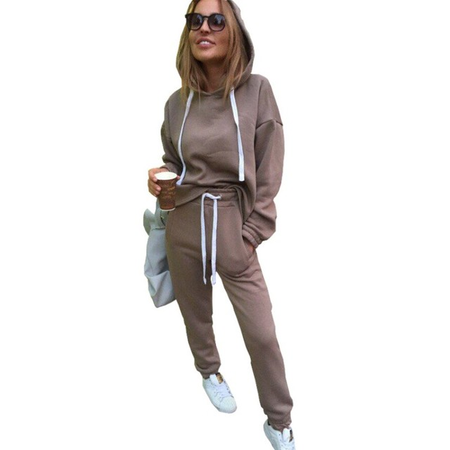 New Thicken Hooded Sweatshirts 2 Piece Casual Sport Suit Set 2