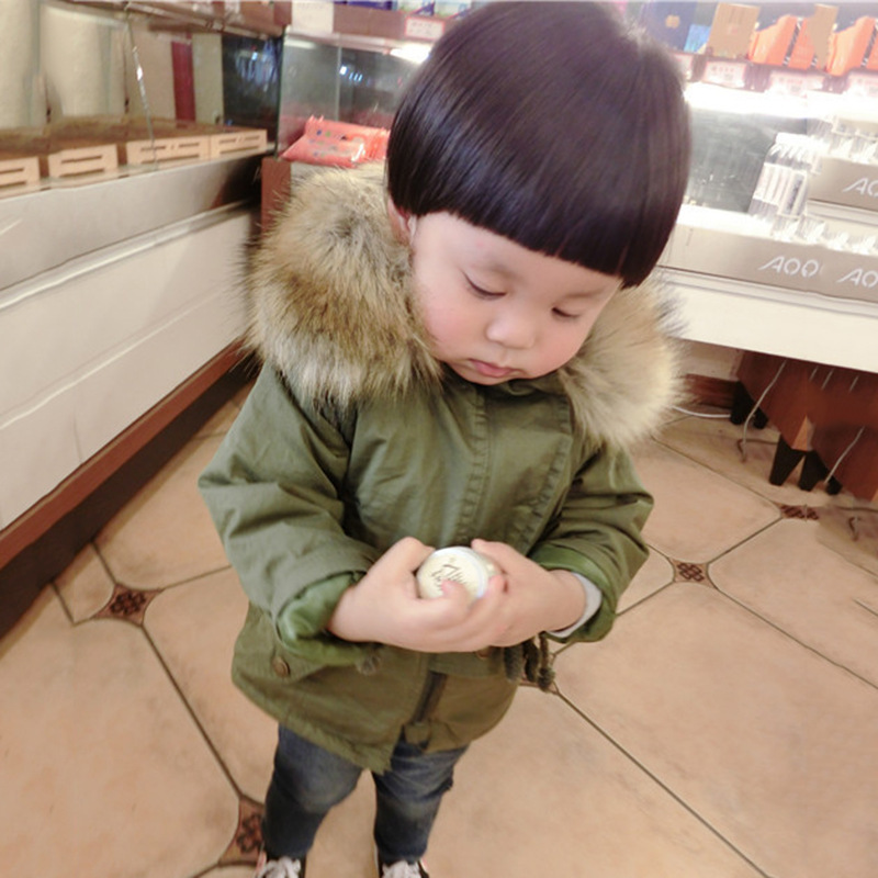 Kids Parkas Fur Hooded Coat Baby Outerwear Thick Overcoat Boys Army green Parkas Clothes  Children Outerwear 1-8 T army green winter thick military coat army green female hooded jacket parkas outerwear fur collar women coat