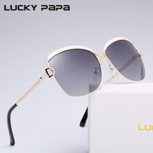 SUERTE PAPA Gradiente Gafas de Sol Polarizadas Lentes de color D hebilla Hembra de Gran Tamaño gafas de Sol UV400 Gafas de sol mujer 8702