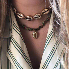 New 2019 Bohemian Natural Stone Shell Pendant Necklace For Women More Color Ocean Jewelry Gifts