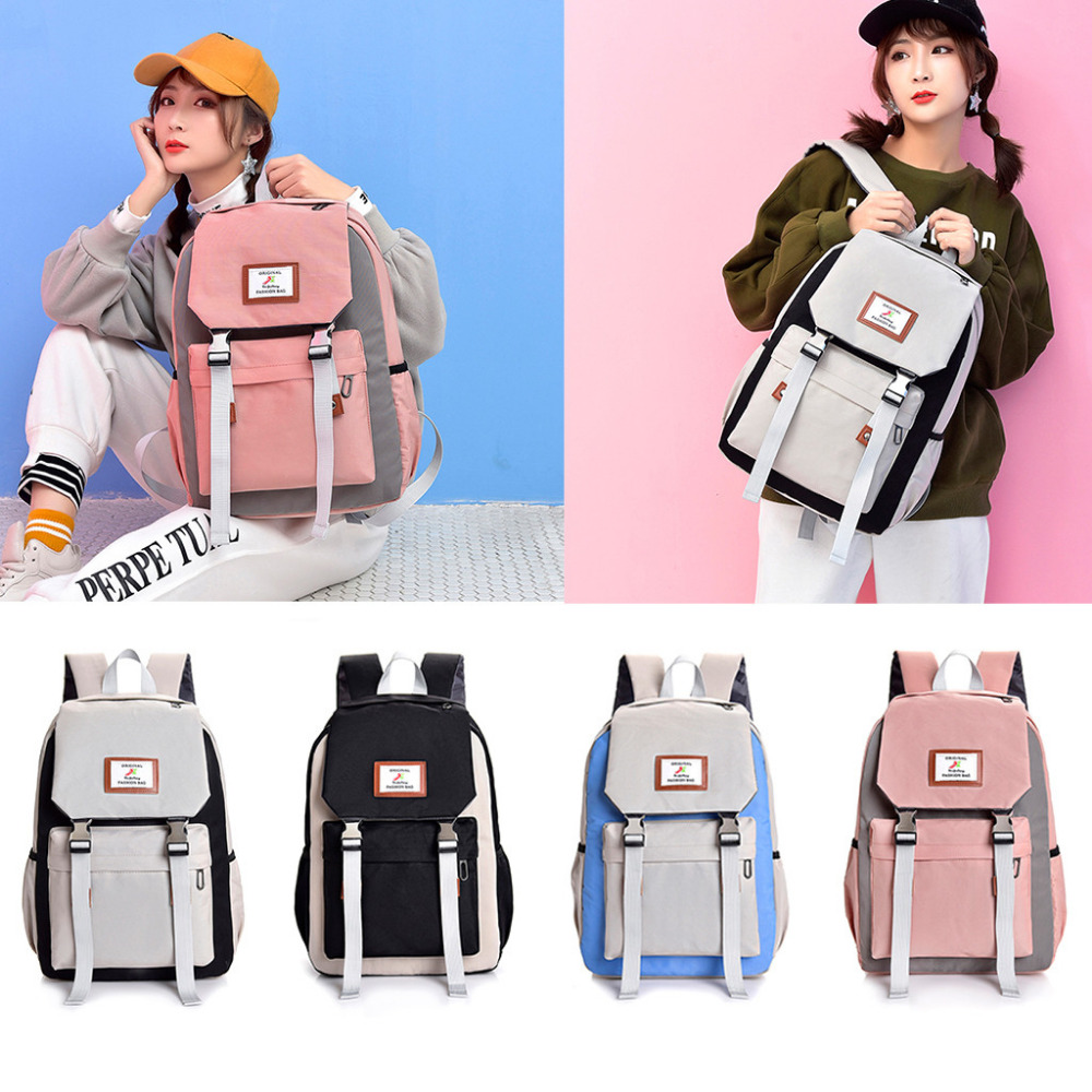 be013a9a4c98 Women Large-capacity Couple Schoolbag Fashion Anti Theft Travel Hiking  Color Block Backpack Female For Girl
