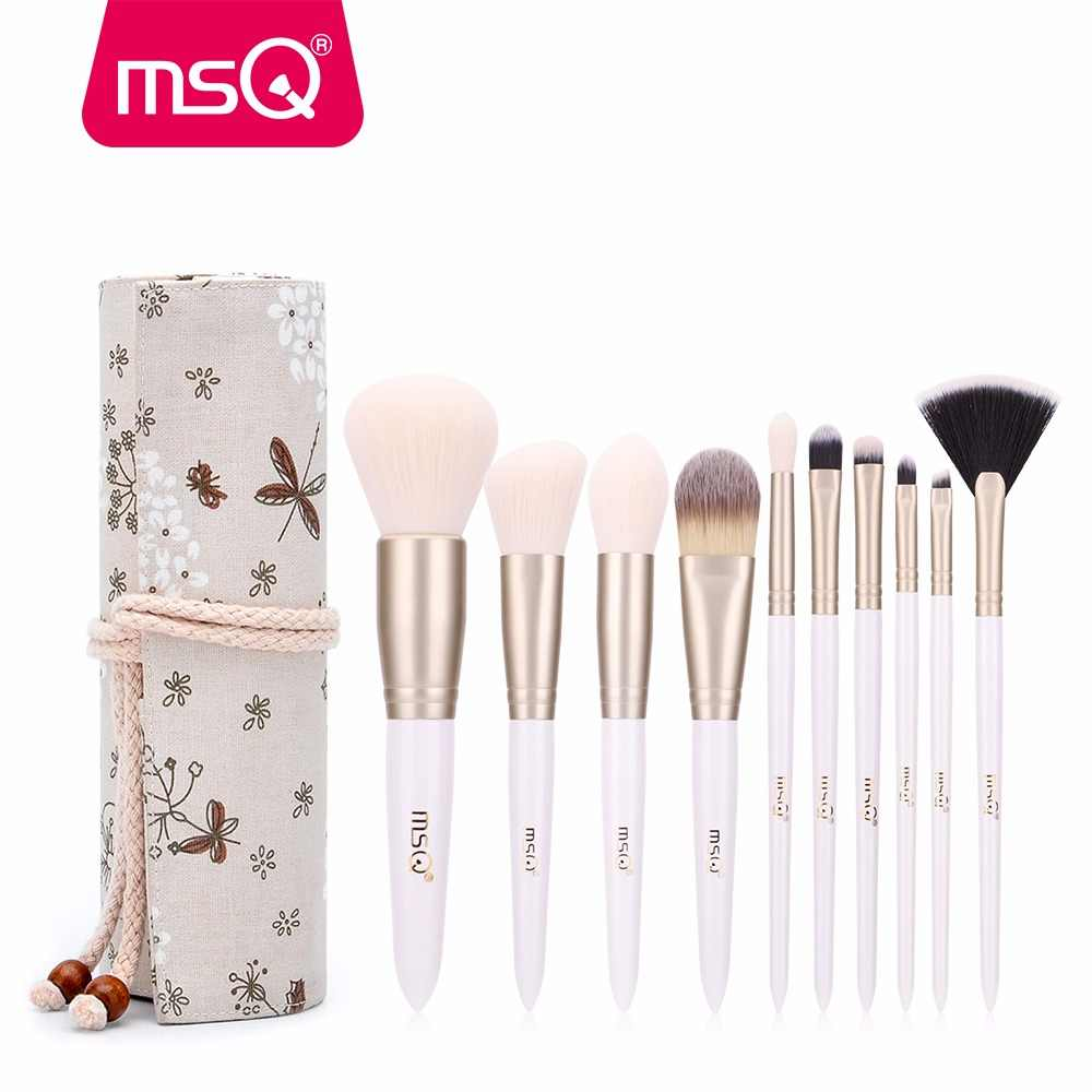 MSQ 10 pcs Makeup Brushes Set Pó Blush Foundation Brushes Eye Make Up Escova de Cabelo Sintético Macio Com High End caso de resina