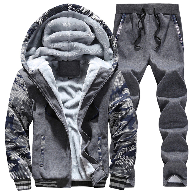 Winter Inner Fleece Hoodies Men Casual Hooded Warm Sweatshirts Male Thicken Tracksuit 2PC Jacket+Pant Men 29
