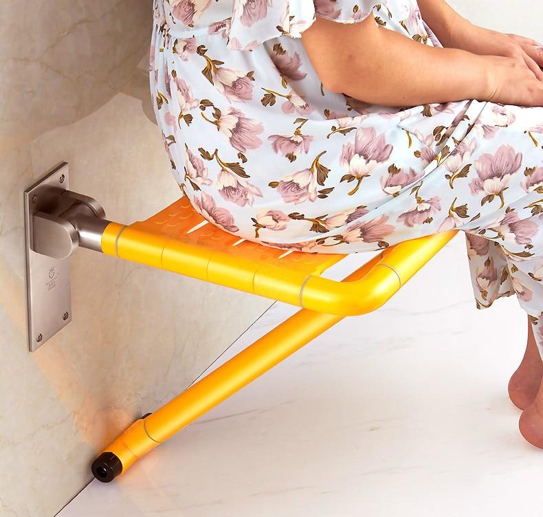Casa de banho de Assento Dobrável Chuveiro Fezes Tamborete Cadeira Idosos Anti-skid Banheiro Parede Do Chuveiro Banho de Fezes Cadeira Parede