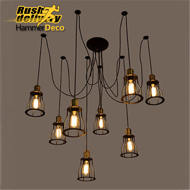 iron bridge vintage pendent lamps for dining room hotel E27 led bulbs American style pendent loft light new arrival american style vintage loft iron black pendent lights for dining room bar resturant decor e27 a127