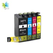 WINNERJET 10 Sets 4 Colors 34XL T3471 Ink Cartridge for Epson Workforce Pro WP-3720 WP-3720DWF WF-3725DWF Printer