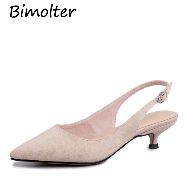 Bimolter Sheep Suede Pumps 4 Color Basic 3.5cm Heel Shoes Women Leisure Genuine Leather High Quality Footwear Size 33-40 NB090