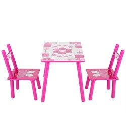 Niños flores de madera niños mesa y silla niños juegos pintura Silla de escritorio muebles de dormitorio