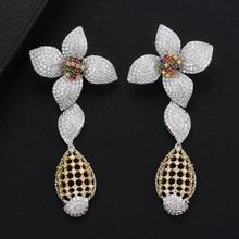 SisCathy Trendy Big Flower Drop Dangle Earrings For Women Girls Full Cubic Zirconia Statement 2019 New Fashion Jewelry