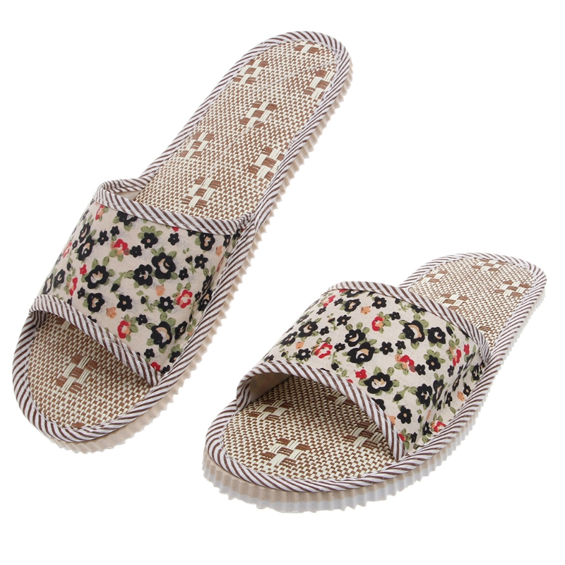 New 2018 Hot Women/Men Linen Floral Home Indoor Slipper Open Toe Flax House Flat SlippersNew 2018 Hot Women/Men Linen Floral Home Indoor Slipper Open Toe Flax House Flat Slippers