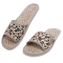 New 2018 Hot Women/Men Linen Floral Home Indoor Slipper Open Toe Flax House Flat Slippers new 2018 unisex linen flax plaid house flat slipper indoor home cozy open toe scuffs