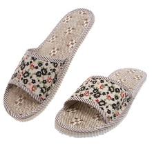 New 2018 Hot Women/Men Linen Floral Home Indoor Slipper Open Toe Flax House Flat Slippers