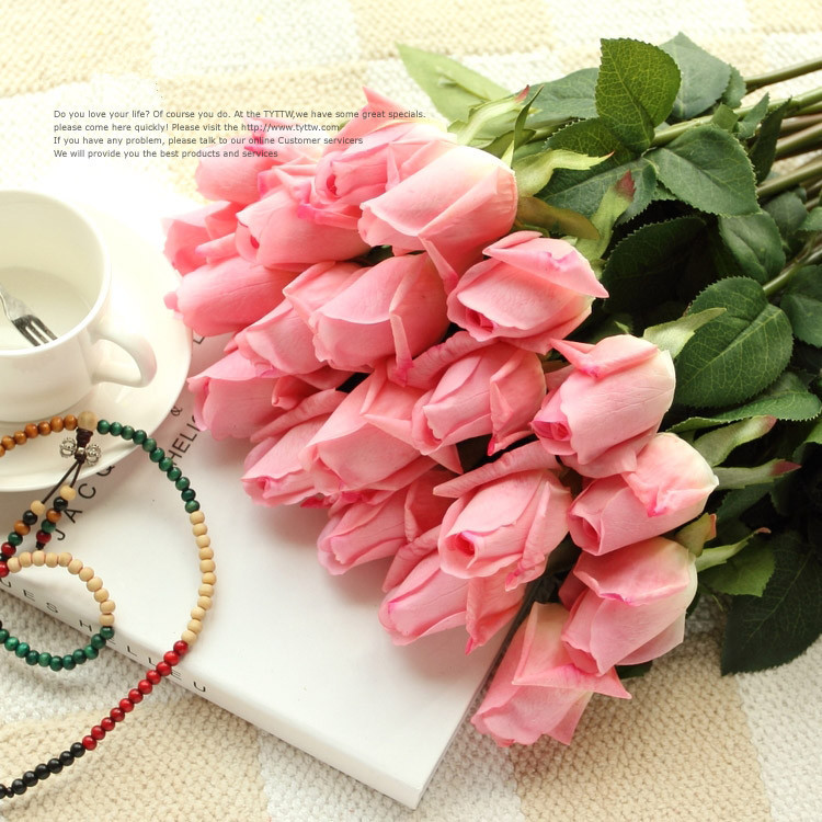 (10 Colors) Fresh PU Rose Artificial Flowers Real Touch Rose Flowers Home Decorations Wedding Party Birthday Gift Free Shipping